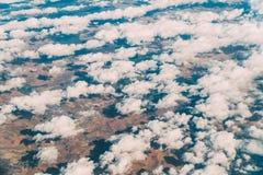 地球天际飞机视图  免版税库存图片