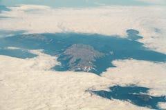 地球天际飞机视图  图库摄影