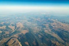 地球天际飞机视图  免版税库存照片