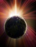 地球太阳蚀的行星 图库摄影