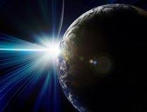地球太阳蚀的行星 免版税库存图片