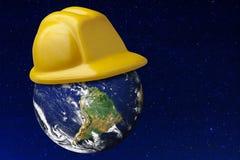 地球安全帽保护安全小行星宇宙 免版税库存照片