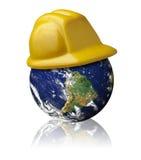 地球安全帽保护安全环境 库存图片