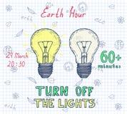 地球小时手拉的海报 免版税图库摄影