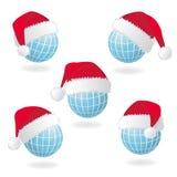 地球帽子红色s圣诞老人 免版税库存照片