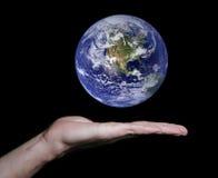 地球平面的浮动的现有量 免版税库存照片