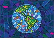 地球彩色玻璃迷离背景 向量例证
