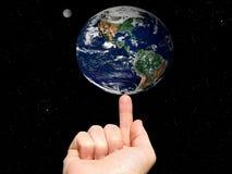 地球手指 库存图片