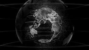 地球技术、事务和通信背景黑&白色3D翻译  向量例证