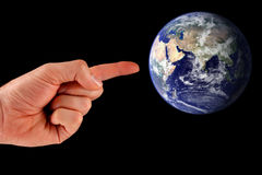 地球指向 库存图片