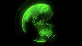 地球数字绿色行星  与发光的大陆的转动的地球 3D与数字地球和微粒的动画 皇族释放例证