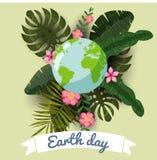 地球日、行星在风格化热带叶子和花,传染媒介,动画片样式,例证,被隔绝 库存照片