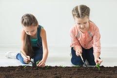 地球日与孩子的标志幼木 免版税图库摄影
