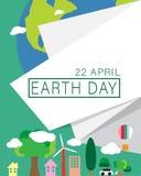 地球日概念、4月22日、白皮书与文本装饰和地球环境在绿色背景 免版税库存图片
