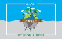 地球日概念,地球4月22日,与棕色丝带和whi的 图库摄影