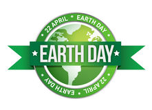 地球日被写在印花税里面 免版税库存照片