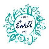 地球日,在白色背景的手拉的字法 向量例证