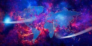 地球映射世界 免版税库存照片