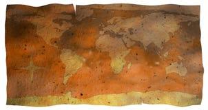地球映射老纸张 免版税库存图片