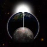 地球月亮行星星 库存图片