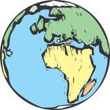 地球木刻 免版税库存照片