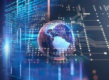地球未来派技术摘要背景例证 库存例证