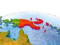 地球模型的巴布亚新几内亚  库存图片