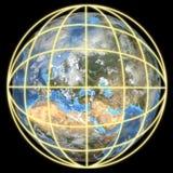 地球欧洲重点全球网格 图库摄影