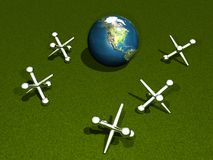 地球比赛插孔 免版税库存照片