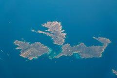 地球海岛卫星看法在地中海 库存图片