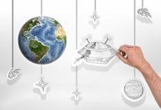 地球用人拿着大飞碟的图片在白色背景的` s手 免版税图库摄影