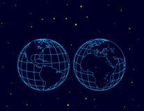 地球的两个半球在空间的 库存例证