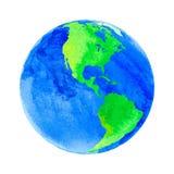 地球的传染媒介例证与水彩纹理的 库存图片