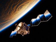 地球的反射在空间卫星的部署的太阳电池板的 库存图片