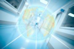 地球的数字式投射在医院背景的 库存照片