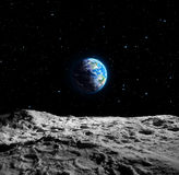 地球看法从月亮的 库存例证