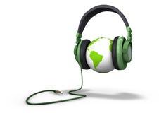 地球耳机佩带 免版税图库摄影