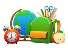 地球背包用铅笔和剪刀苹果 库存图片