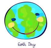 地球行星庆祝天,纯稚绘画 免版税库存图片