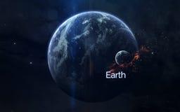 地球行星秀丽在空间的不尽的黑暗中 美国航空航天局装备的这个图象的元素 免版税图库摄影