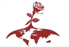 地球被传统化的红色玫瑰 库存照片