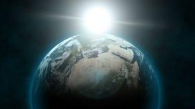 地球被排列的日出60fps 皇族释放例证