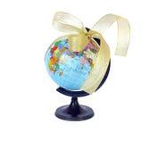 地球金黄丝带世界 免版税库存照片