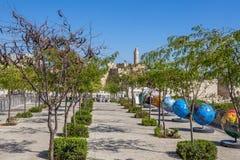 地球陈列在耶路撒冷,以色列。 库存图片