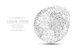 地球 与被粉碎的边缘的多角形wireframe滤网象 概念例证或背景 免版税库存照片