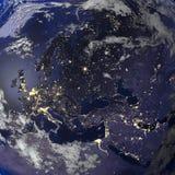 地球从空间3d翻译的夜视图 免版税图库摄影
