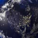 地球从空间3d翻译的夜视图 库存例证