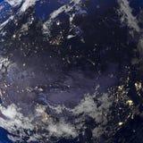 地球从空间3d翻译的夜视图 库存图片