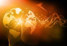 地球&纤维光学 库存照片