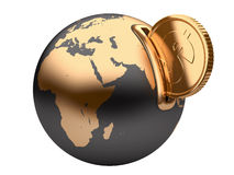 地球moneybox和金黄美元硬币 图库摄影